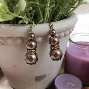 Purple Faux Pearl Drop Earrings